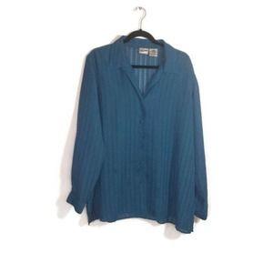 Liz Baker Polyester Blue Women Blouse Long Sleeve